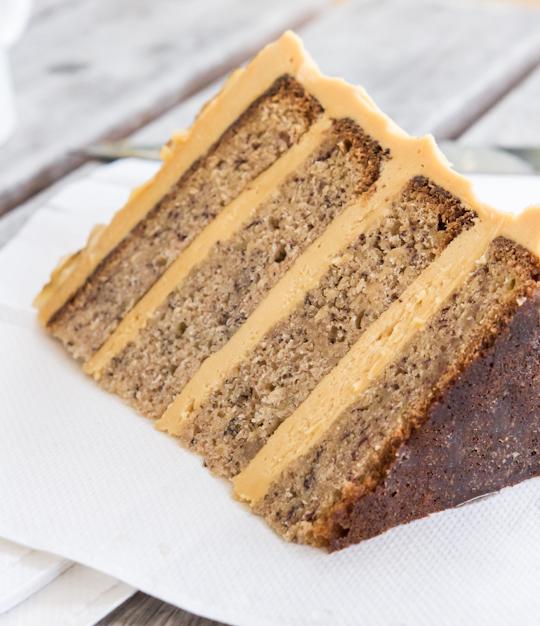 banana cake with salted caramel buttercream